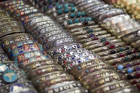 gold souk: Different bracelets on a street market in Kathmandu.
