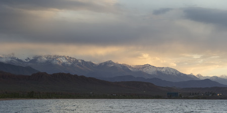 issyk kul: Issyk-Kul lake in the evening. Kyrgyzstan, Central Asia.