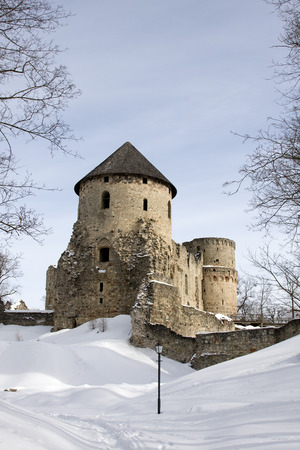 loophole: Cesis castle in winter, Latvia.