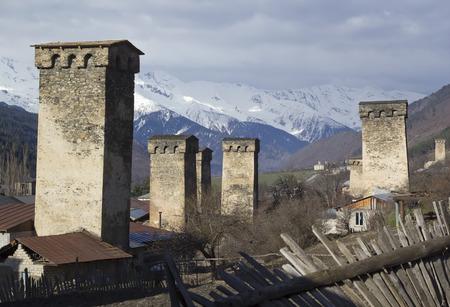 mestia: The medieval village of Mestia in Svaneti, Georgia.