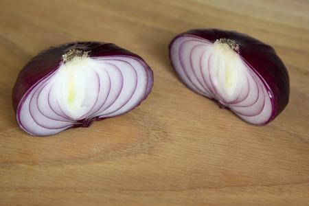 aftertaste: Sweet Crimean onion cut in half. Stock Photo