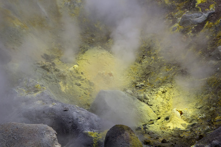 fumarole: Nature of Kamchatka: sulfur fumarole in crater active Mutnovsky Volcano. Russia, Far East, Kamchatka Peninsula.