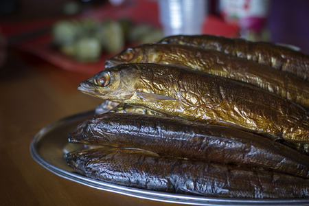 endemic: hot smoked Omul (endemic species of fish in the lake Baikal) Stock Photo