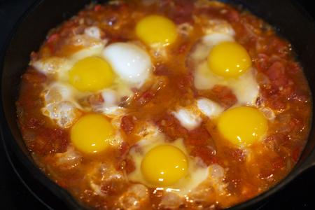 Shakshouka - fried eggs with tomatoes, Israeli national dish
