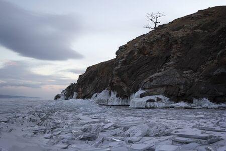 baical: Shore of Olkhon island in winter. Lake Bakal, Russia.