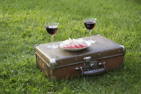 Romantic summer picnic on the grass with wine and a vintage suitcase.