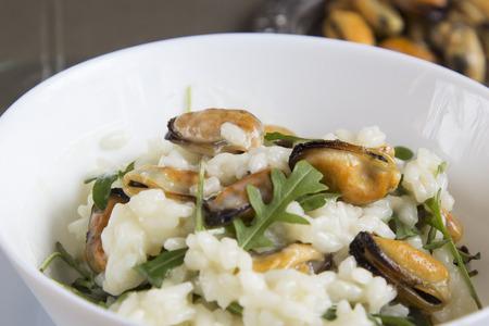 ムール貝のリゾット。イタリアの伝統料理