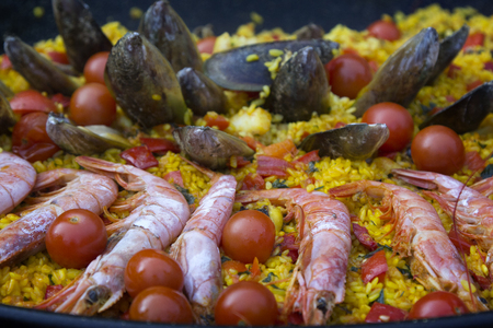 Paella with seafood. Traditional Spanish dish. Reklamní fotografie