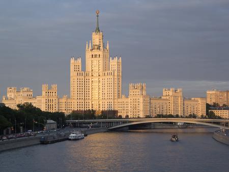 Residential house on Kotelnicheskaya embankment. High-rise building in the center of Moscow Reklamní fotografie