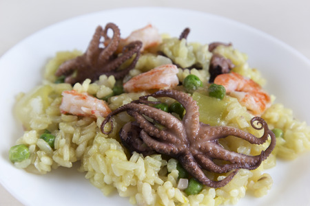 Paella with shrimp and octopus