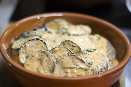 Eggplant stewed in sour cream sauce.