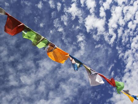 Nepalese prayer flags against the blue sky