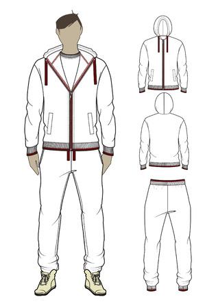 zip hoodie: Man s zip-through hoodie and sweetpants  Vector illustration