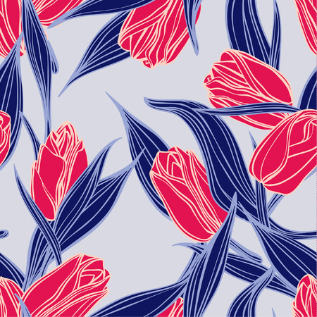Seamless floral pattern with of red tulips  向量圖像