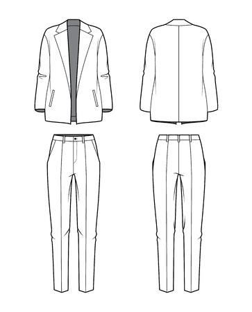 Vrouwen s blouse en broek Vector illustratie Stock Illustratie