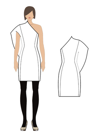 neckline: Women s dress  Vector illustration  Illustration