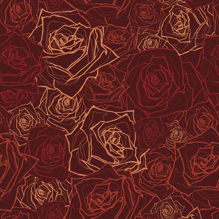 Seamless floral pattern with of roses  Vector illustration
