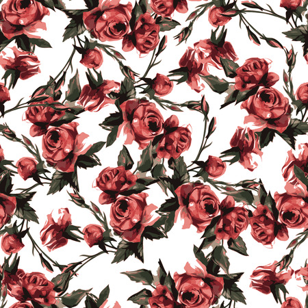 accent abstract: Seamless floral pattern with of pink roses Illustration