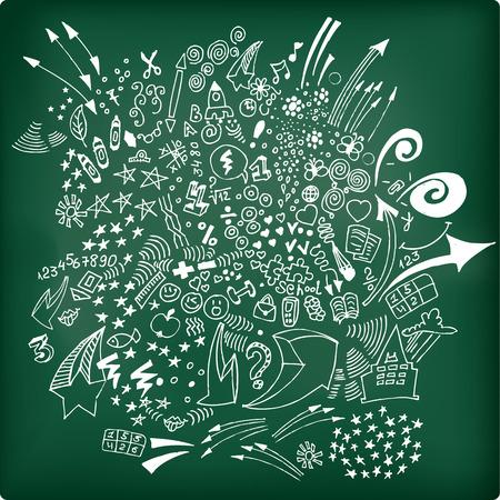 Set van de vrije hand schoolbenodigdheden op achalkboard Vector illustratie met belettering
