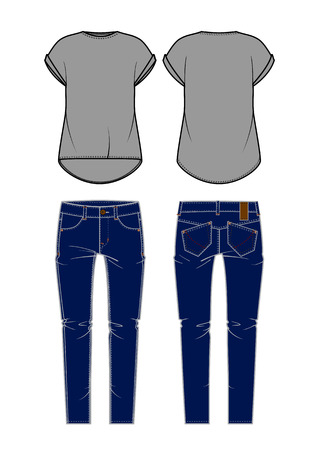 Women s jeans and shirt  Vector illustration  Vector