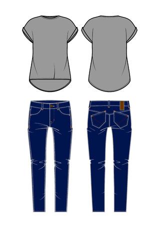 womenīŋŊs: Women s jeans and shirt  Vector illustration  Illustration