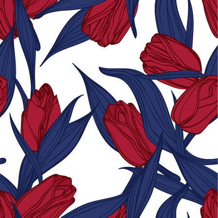 Seamless floral pattern with of red tulips