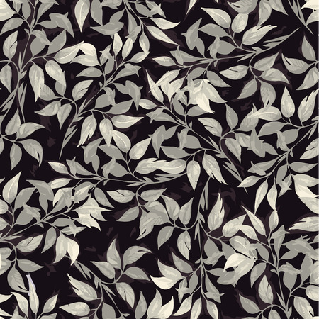 ficus: Seamless floral pattern with of gray ficus leaves