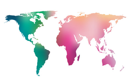 Colorful gradient world map  Vector background