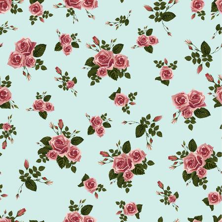 Naadloos bloemenpatroon met roze rozen Vector achtergrond