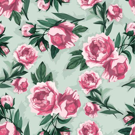 Seamless floral pattern with of pink roses, watercolor  Vector illustration