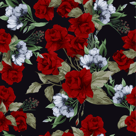 arrangement: Seamless floral pattern with of red roses on black background, watercolor  Vector illustration