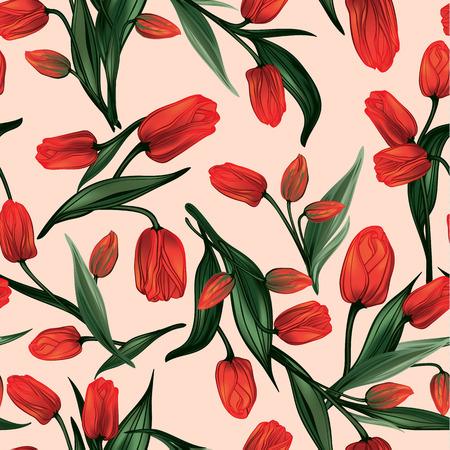 赤いチューリップとシームレスな花柄