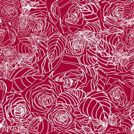 빨간색 배경 벡터 배경에 윤곽 장미와 원활한 플로랄 패턴