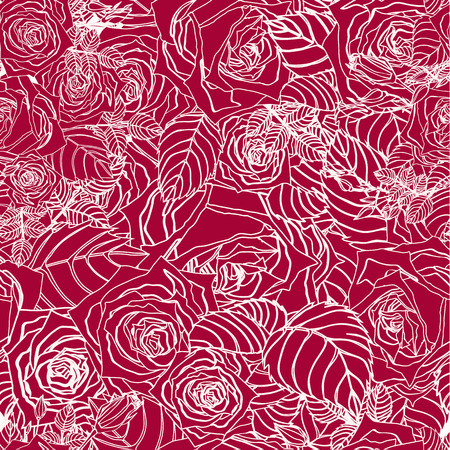Seamless floral pattern with of outline roses on red background  Vector background