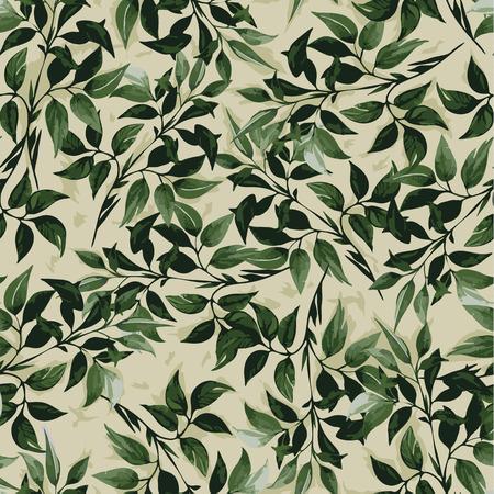 Naadloos bloemenpatroon met groene bladeren ficus