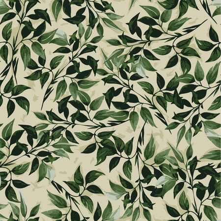 Seamless floral pattern with of green ficus leaves