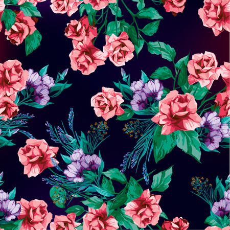 ピンクのバラのベクトルの背景とシームレスな花柄  イラスト・ベクター素材
