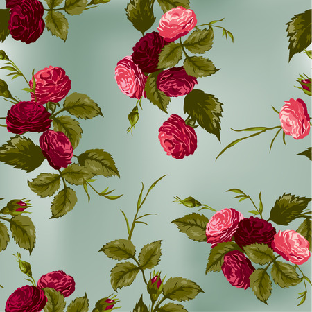 Seamless floral pattern with of red and pink roses  Vector background  Vector