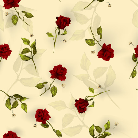 Seamless floral pattern with of red roses  Vector illustration