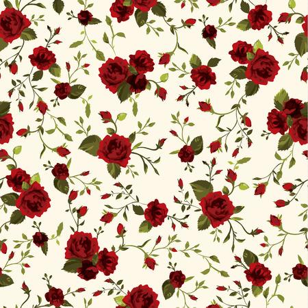 Naadloos bloemenpatroon met rode rozen Vector illustratie
