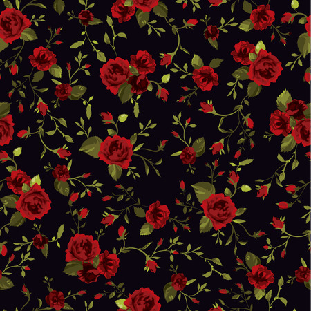Seamless floral pattern with of red roses on black background  Vector illustration