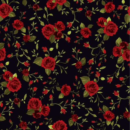 negro: Sin fisuras patrón floral con rosas rojas sobre fondo negro Ilustración vectorial