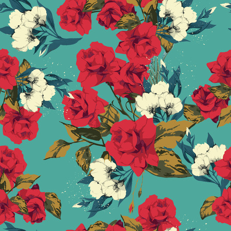 Seamless floral pattern with of red and white roses  Vector illustration