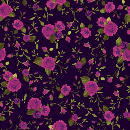 unusual valentine: Seamless floral pattern with of pink roses  Vector illustration  Illustration
