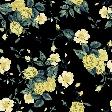 Seamless floral pattern with of yellow and white roses on black background  Vector illustration