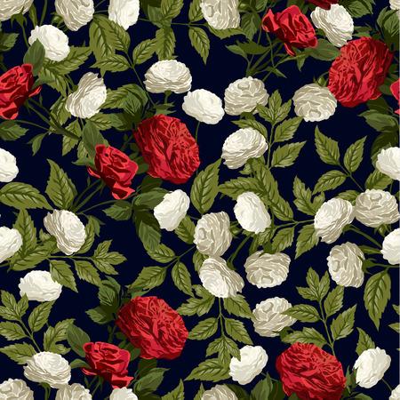 rosas negras: Modelo floral inconsútil con las rosas rojas y blancas sobre fondo negro Ilustración vectorial