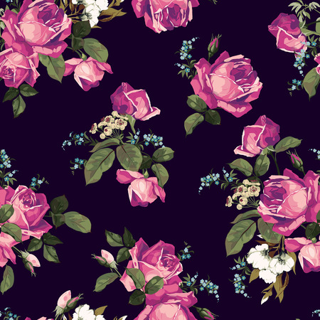 peony black: Seamless floral pattern with of pink roses on black background  Vector illustration