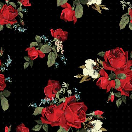 검은 배경에 벡터 일러스트 레이 션에 빨간 장미의 추상 원활한 플로랄 패턴