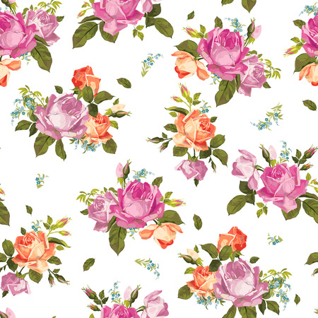 Abstract seamless floral pattern with of pink and orange roses on white background  Vector illustration