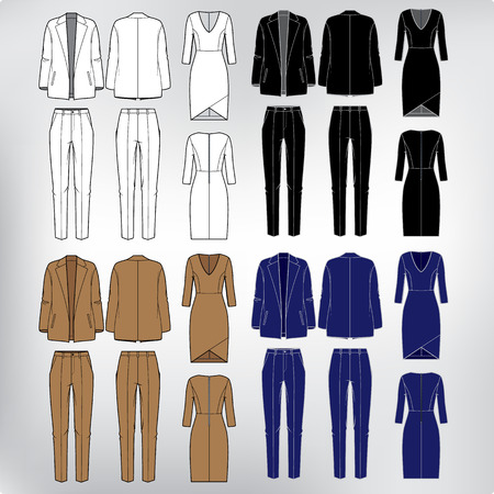 Vector set of women s clothes  blazer, pants and dress